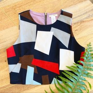 Boutique Exposed Zipper Geometric Crop Top Size M